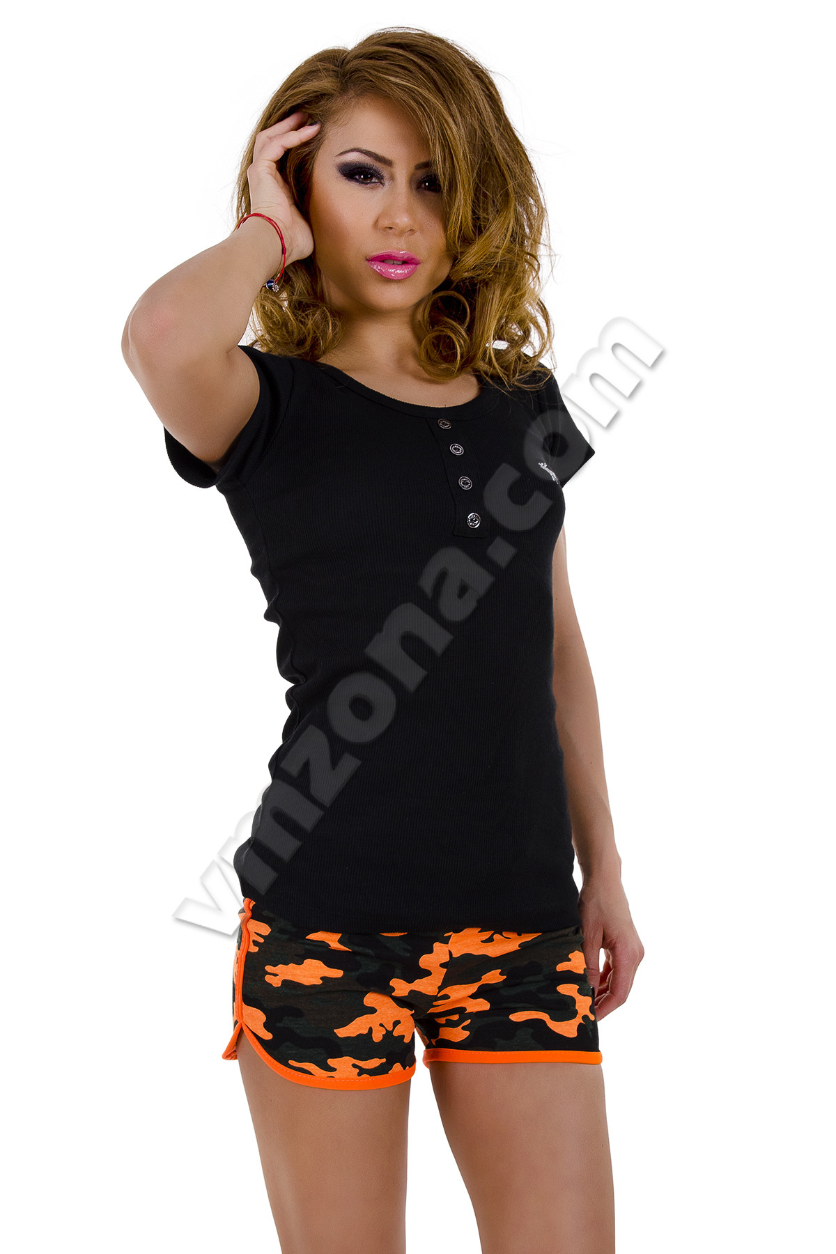 Pantaloni scurti dama sport cu imprimeu army Orange